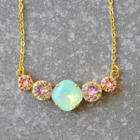 Mint Opal Tennis Necklace Swarovski Crystal Minty Green Opal Pastel Rainbow French Rose Pink Rhinestone Bar Necklace Mashugana