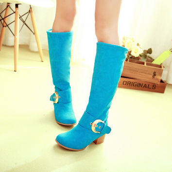 Round Toe Candy Color Buckle Knee High Boots Low Chunky Heels 8436