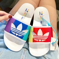 ADIDAS 2019 new rainbow embroidery logo casual wild beach sandals