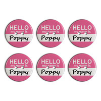 Poppy Hello My Name Is Plastic Resin Button Set of 6