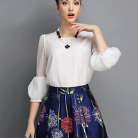 Puff Sleeve Chiffon Blouse with Necklace