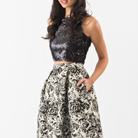 Madison Black and Gold Floral Jacquard Skirt