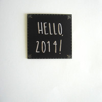 Hello, 2014! Send New Year Wishes with a Stylish Art Deco Inspired Card in Black With Rose Gold and Iridescent White Colors