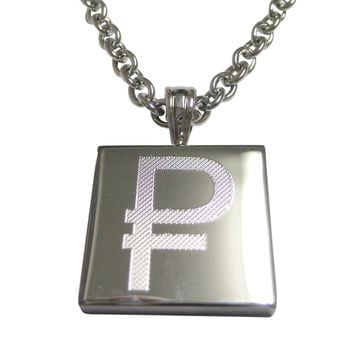 Silver Toned Etched Russian Ruble Currency Sign Pendant Necklace