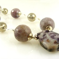 Purple Gemstone and Sterling Silver Necklace with Dyed Agate Pendant and Beads in Violet and Lavender