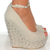 LADIES NUDE PEEP TOE STUDDED WEDGE HIGH HEELS SHOE ANKLE STRAPPY SANDAL PROM 3-8