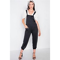 Black Casual Cinched Adjustable Overalls