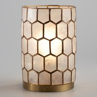 Gold Capiz Honeycomb Table Lamp