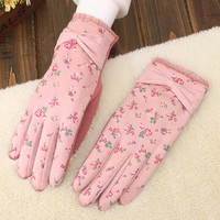 Girls winter thicken thermal gloves bow vintage floral print touch screen warm gloves winter driving gloves
