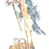 Goin' South 10 x 5 watercolor