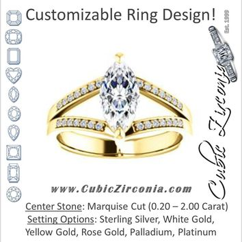 Cubic Zirconia Engagement Ring- The Lyla Ann (Customizable Marquise Cut Design with Wide Double-Pavé Band)