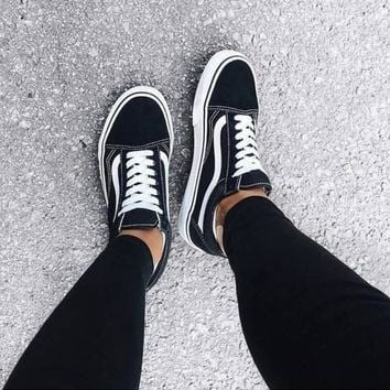 """Vans"" With Warm Casual Shoes Men and women classic black cloth shoes F"