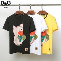 Dolce&Gabbana D&G Women Men Fashion Black White Yellow T-Shirt Top Tee