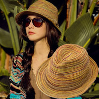 Summer Women Straw Hat Color Striped Beach Sun Hat Foldable Hat Yellow H3137 (Color: Yellow) = 1958053956
