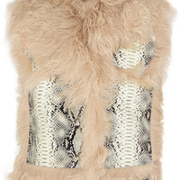 Lanvin - Shearling and snake-effect leather vest