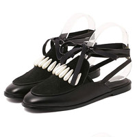 Black Faux Sude Pearl Embellished Lace-up Shoes