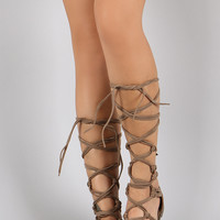 Breckelle Strappy Knotted Lace Up Gladiator Flat Sandal