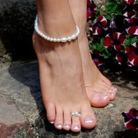 SET: Foot Bracelet and Foot Ring, Beaded Anklet, Foot Bracelet, Foot Jewelry,Beach Jewelry, Beach Wedding Accessories, Foot Rings
