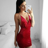 Sexy V-neck One Piece Dress [11006865231]