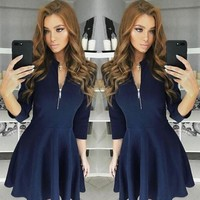 New Arrivals Women Fashion Long Sleeve Bodycon Tunic Formal Party Evening