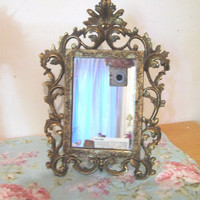 Antique 1900's Victorian Mirror Very Ornate Solid Brass Repousse Vanity Dresser Table Easel Mirror or Wall Mirror