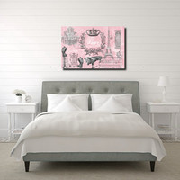 Large XLPrint on Stretched Canvas Pink Paris Chic Silhouette 36x24 Ready to Hang