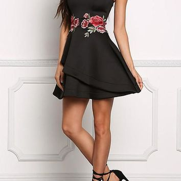 Casual Black Floral Bandeau Off Shoulder Embroidery Zipper Prom Evening Party Mini Dress