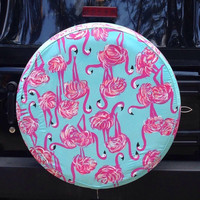 Lilly Pulitzer Inspired Flamingo Tire Cover