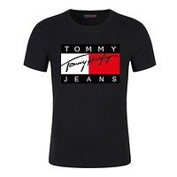 19ss Fashion Casual T Shirt Men Streetwear Luxury Designer T Shirts5XL/tommy For Mens Tee Shirts Letter Embroidery Men Tops Short Sleeved Ts