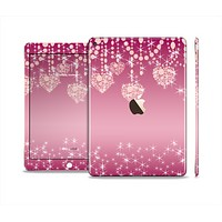 The Pink Sparkly Chandelier Hearts Skin Set for the Apple iPad Air 2