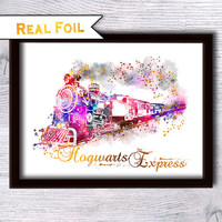 Harry Potter real foil print Hogwarts Express gold foil poster Harry Potter decor Kids room wall art Child room decor Wall hanging art G201