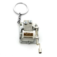Hogwarts And Game of Thrones DIY Music Box Game of thrones Keychain Keyrings Hogwarts Music Box Key Chains Hand Crank Movements