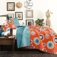 The Penelope Boho Bohemian Moroccan 3 PC Blue Orange Bed Quilt SET