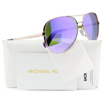 Michael Kors MK5004 Chelsea Aviator Sunglasses Rose Gold w/Purple Mirror (1003/4V) MK 5004 10034V 59mm Authentic