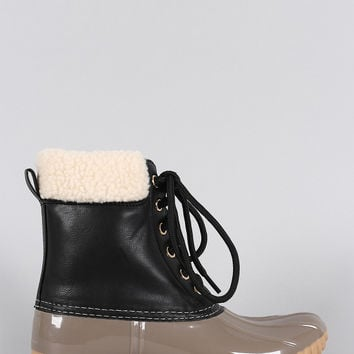 Black Faux Shearling Cuff Lace Up Duck Ankle Boots