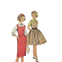 Vintage 50s 60s Simplicity Sewing Pattern School Girl Casual Day Swing Dress Fitted Blouse Straight or Full Skirt Jumper Uncut Bust 30