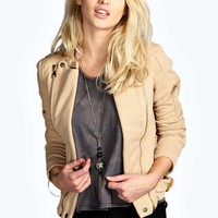 Emma Textured Zip Detail Biker Jacket