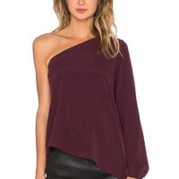 RAMY BROOK Kanye One Shoulder Blouse in Cranberry