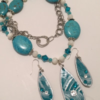 Tear Drop in Turquoise and Silver Necklace Set