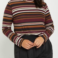Plus Burgundy Striped Mock Neck Crop Top