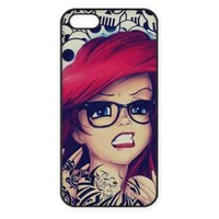 Tattoo Ariel Little Mermaid Design Hard Case Cover Skin for iphone 6 case iphone 6plus iphone 5 5s 4 4s iphone 5c Samsung Galaxy S5 S3 S4 note 2 note3 note4 (Case for iPhone 4/4s(Black Hard))