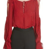 Milly Connie Dot Print Silk Georgette Top | Nordstrom