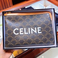 CELINE New fashion letter pattern print leather cosmetic bag file package handbag
