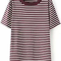 Red Short Sleeve Striped T-Shirt