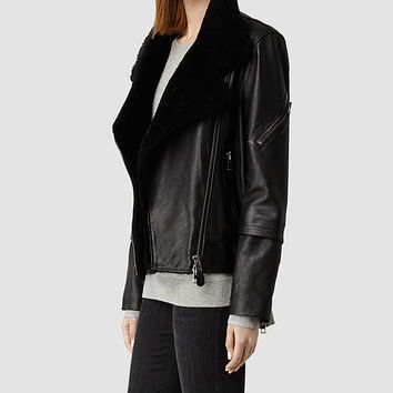 Womens Bayes Shearling Leather Jacket (Black) | ALLSAINTS.com