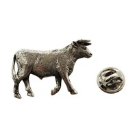 Bull Pin ~ Antiqued Pewter ~ Lapel Pin