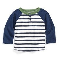 Infant Boy's Peek 'Outfield' Stripe Baseball Henley,