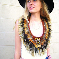 Vintage 70s White Leather Feather Halter top by detroitdolly