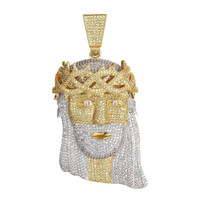 Mens Iced Out Simulated Diamond Hip Hop Jesus Piece Pendant 14k Gold Finish