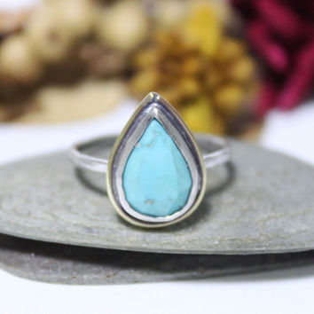Sleeping Beauty Turquoise Sterling Silver Ring/ Cocktail Ring/ Blue Gemstone Ring/ Brass Decor Turquoise Silver Ring/ Size 7.5
